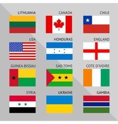 Flags of world flat Set number 01 vector image vector image