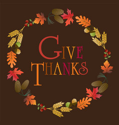 give thanks wreath vector image vector image