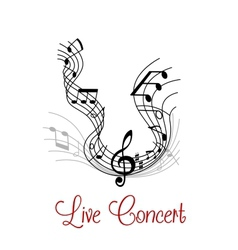 Musical composition with wave and notes vector image