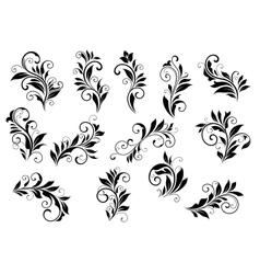 Retro floral motifs and foliate vignettes set vector