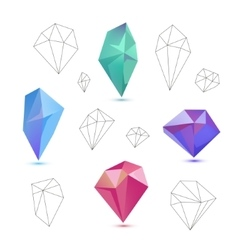 set of colorful 3d and line diamonds vector image vector image
