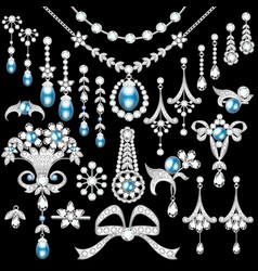 set of jewelry made of silver and precious stones vector image vector image