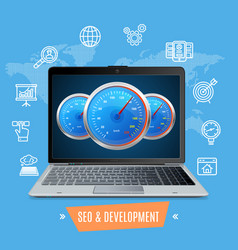 site speed test concept seo and development vector image vector image