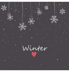 Snowflakes on night sky background vector image