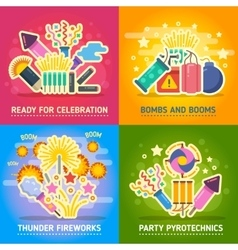 Crackers fire show holiday party pyrotechnics vector image
