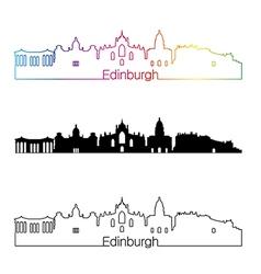 Edinburgh skyline linear style with rainbow in vector image vector image