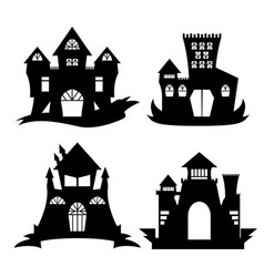 halloween castle silhouette vector image