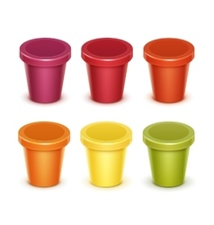 Set of Food Plastic Container For Dessert Yogurt vector image vector image