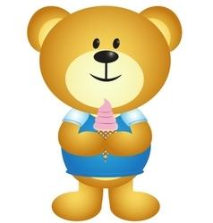 Cartoon Boy Bear Eating Ice Cream - full colour vector image vector image