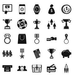 cash transfer icons set simple style vector image