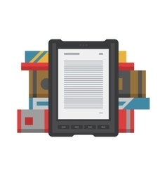 Electronic mobile book with paper books icon vector image