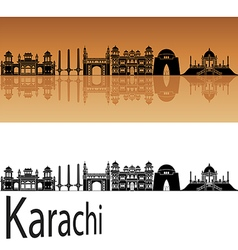 Karachi skyline in orange vector image vector image
