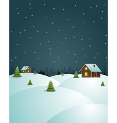 Merry Christmas postcard village background vector image vector image