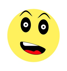 surprised smiley on white background vector image vector image