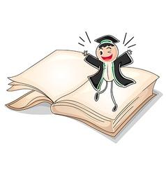 A graduate above a book vector