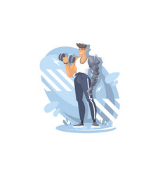 a young sports guy is engaged in gym athletic vector image