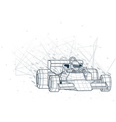 Abstract formula one low poly wireframe vector