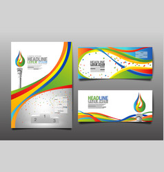 Abstract template design waves brochure web vector