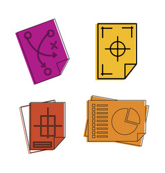 architectural paper icon set color outline style vector image