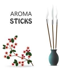 Aroma smoke reed sticks in ceramic blue bottle vector