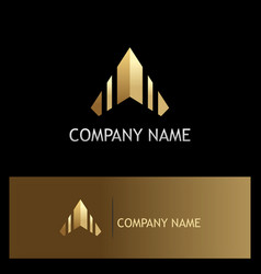 Arrow up triangle gold logo vector
