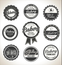 bakery retro labels collection vector image