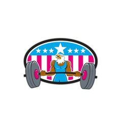 Bald Eagle Weightlifter Barbell USA Flag Oval vector image