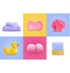 Bath wash design concept set vector