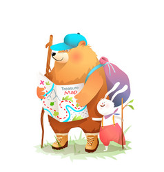 Bear and hare friends camper hiking with map vector