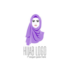Beautiful woman wearing colorful hijab icon hijab vector