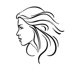 Beautiful woman with streaming hair portrait vector