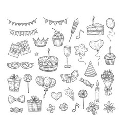 birthday sketch happy birthday celebration party vector image