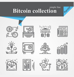 bitcoin thin line icon set vector image