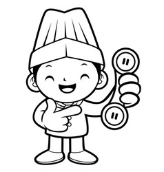 black and white happy chef mascot pointing at the vector image