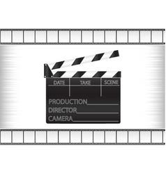 Black movie clapperboard and cine-film vector