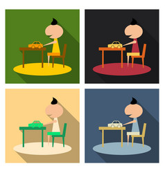Boy with long chubby playing car on the table vector