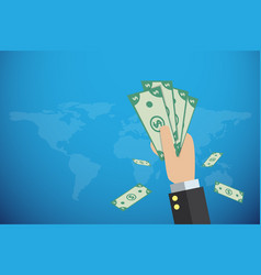 business hand holding banknotes with world map vector image