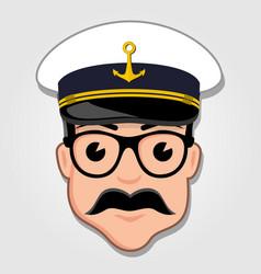 captain cartoon face vector image