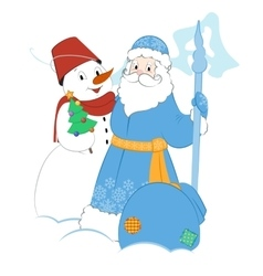 Cartoon Father Frost with Snowman and gifts vector
