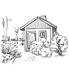 Cartoon hand drawing houses landscape vector