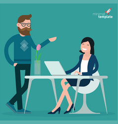 cartoon men and women communication in office vector image