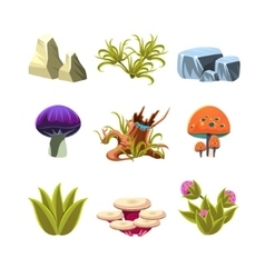 Cartoon Mushrooms Stones and Bushes Set vector image