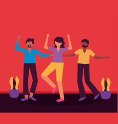 celebrating happy young people design vector image