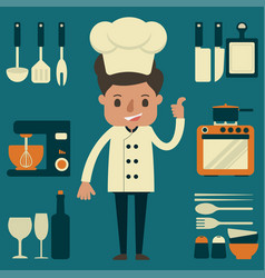 chef with kitchenware equipment vector image