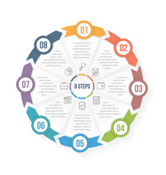 circle infographic template with eight elements vector image
