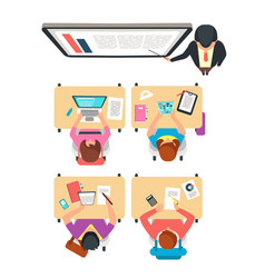 Class top view students and teacher learning vector
