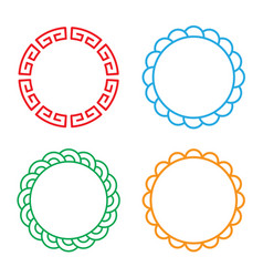 classic chinese circle window and photo frame vector image