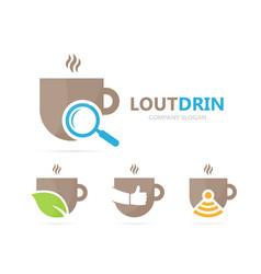 Coffee and loupe logo combination drink vector