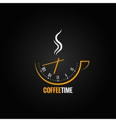 Coffee cup clock time concept background vector