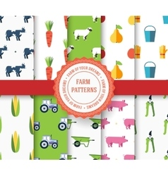 Collection set of agricultural seamless pattern vector